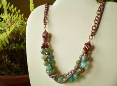 Faceted Agate & Copper Necklace - JEWELRY