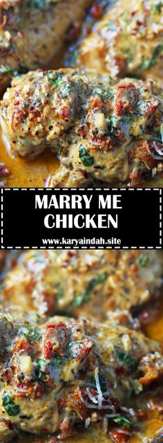 Marry Me Chicken. Famous skillet chicken in a sundried tomato parmesan cream sauce with fresh basil. It will definitely inspire marriage p...