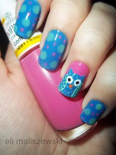 owl nails - how cute