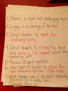 Notice & note instructions for close reading.