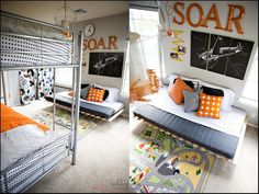 orange. airplanes. not girly {shared boy's bedroom} » ashleyannphotography.com