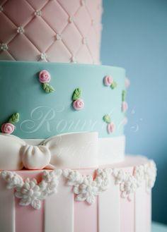 Romantic pink & blue wedding cake