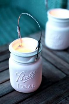 White Mason Jar Candles