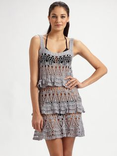 Gray Openwork Dress free crochet graph pattern