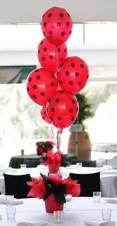 Polka-dot balloons.