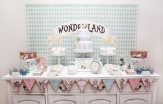 Alice In Wonderland Themed Party Dessert Table