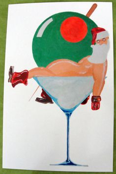 greet card, color paper, water color, martinis, greeting cards