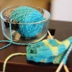 DIY Yarn Bowl - just a paperclip and heavy bowl.