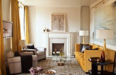 living rooms, decor inspir, apart decor, decor file, live room, chic combo, bold colors