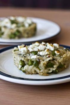 pea and mint risotto cakes with feta