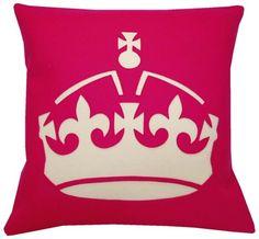 Hot Pink Crown Pillow