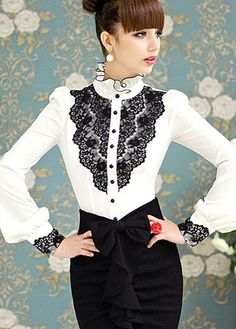 Exquisite Mandarin Collar Button Closure Blouse with Lace