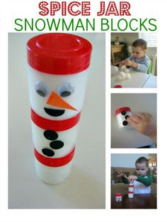 Make snowman building blocks using recycled spice jars
