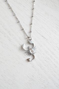 Scorpion Necklace, Zodiac Scorpio, Symbol Tattoo Scorpio, Charm Necklace, Rhinestones Scorpion,Everyday Fashion, Insert Jewelry,Silver Scorpion,Scorpio,Astrology Sign,October Birthday