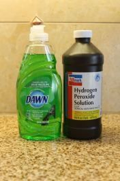 The only stain remover you will ever need!  1 part Dawn dishwashing liquid    2 parts hydrogen peroxide    I poured the cleaner right on the spots and used an old toothbrush to make sure it really got into the carpet. I let it sit for maybe 30 seconds and then I blotted it with a wet towel.    carpet, clothing, etc