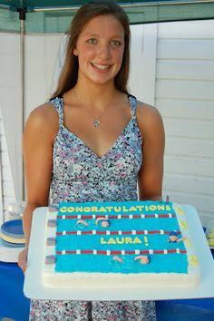 Swimming pool + cake + theme + party + swim meet