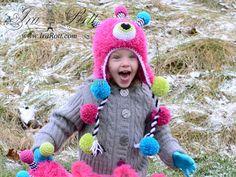 Handmade Crochet Neon the Gumball Monster Hat for all ages www.irarott.com