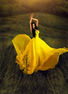 yellow beauty field, yellow flowers, secret gardens, prom gowns, colors, dresses, the dress, fashion photography, yellow dress