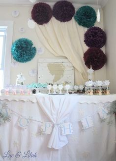 Frozen Birthday Party Backdrop and Dessert Table!  See more party ideas at CatchMyParty.com!