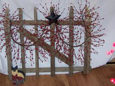tobacco stick gate with primitive berries by southernsticks, $25.00