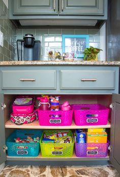 Turn a cabinet into a school lunch station to empower kids to make their own!