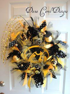 Iowa Hawkeye Team Spirit Wreath by DanaCarolDesigns on Etsy, $65.00