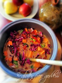 Sweet potato purple cabbage and peanut butter - soup!