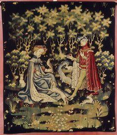 Paris  vers 1400 - 1410    L'Offrande du coeur   Vers 1400-1410   Arras ?  Tapisserie : laine et soie  H. : 2,47 m. ; L. : 2,09 m.