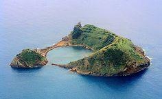 tiny island off the coast of Sao Miguel Acores near the town of Villa Franca. beautiful black sand beach.