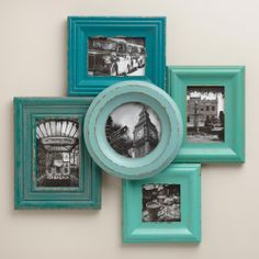 One of these days I'll get my frames and pics up.... Blue and Aqua Morgan Frames, Set of 5 | World Market