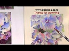 ▶ How to watercolor blue hydrangea - Flower Watercolor Paintin - YouTube
