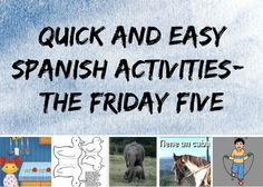Fun Spanish Activities: Quick and easy Spanish activities for kids to accompany a fun Spanish song for kids called Cinco Patitos. The Friday Five - Spanish Playground. Actividades para niños. http://spanishplayground.net/quick-spanish-activities-friday-five/
