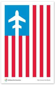 """Poster created by Pentagram celebrating the new name """"Airlines for America."""""""