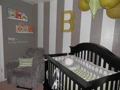 Simple, #modern #gray stripes in this #nursery.  #stripewall