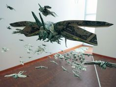 Sipho Mabona's Swarm of Flying Money Origami Locusts