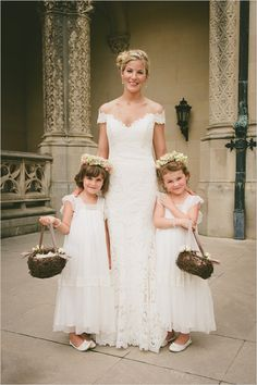 white flower girl dresses with adorable floral halos