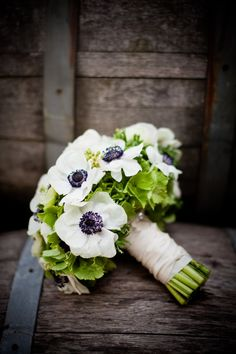 green hydrangeas, and white with black centered anemone flowers