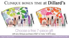 Violets or Pinks? Choose yours at Dillards. This is Clinique bonus. Free with any $27 order. http://clinique-bonus.com/dillards/