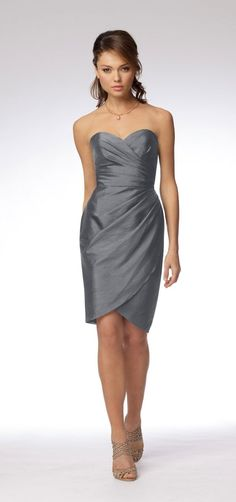 Silver Sweetheart Strapless Short bridesmaid Dress 8953