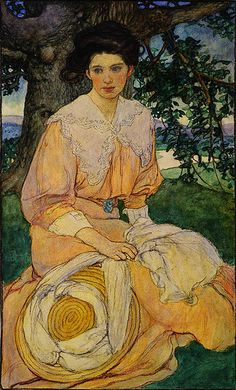 Giséle (1908)   Elizabeth Shippen Green [American Illustrator 1871-1954]  A Petal from the Rose: Illustrations by Elizabeth Shippen Green - watercolor and charcoal