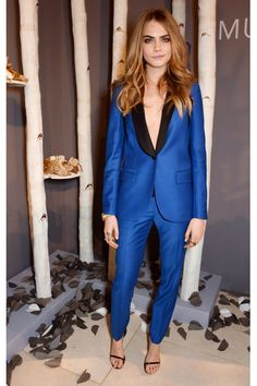 dress, suit, cara delevingne, electric blue