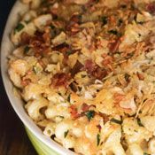 Cheesy Corkscrews with Crunchy Bacon Topping posted on cooking.com adapted from recipe Down Home with the Neelys