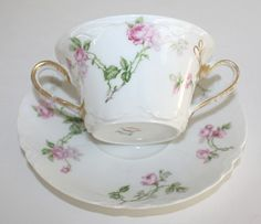 Antique French Haviland Limoges Schleiger 31A Pink Rose Bouillon Cup & Saucer pink roses, antiqu french, tee cup, tea cup, teacup