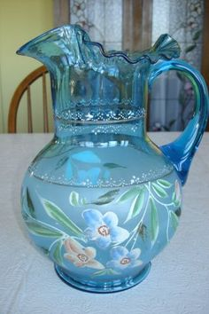 fenton pitchers | ... Hand Painted Blue Pitcher And 5 Matching Glasses, Maybe Fenton photo