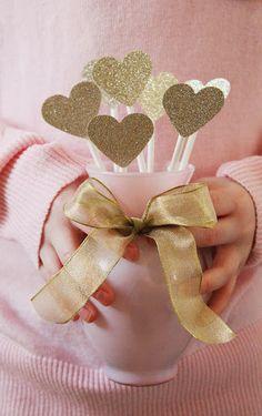 glittered hearts #valentinesday #valentinesideas