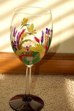 So light handpaint glass, wine glass, light, glass paint