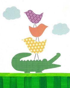 birds and alligator