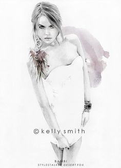 draw, edit print, smith illustr, bambi, art, kelli smith, limit edit, fashion model, fashion illustrations
