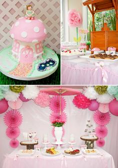 Pink Fairy themed 6th birthday party via Kara's Party Ideas -love the flower on the wall