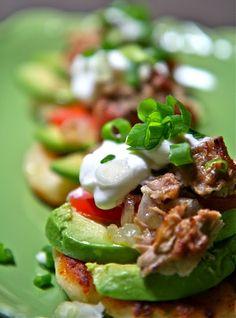 Mexican corn cakes w/ shredded pork & avocado #recipe. #Celiac #coeliac, confirm all #ingredients are #glutenfree.